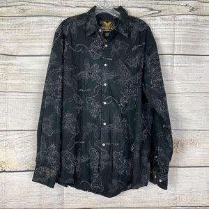 Avirex Shirt Black White Long Sleeve Graphic Print